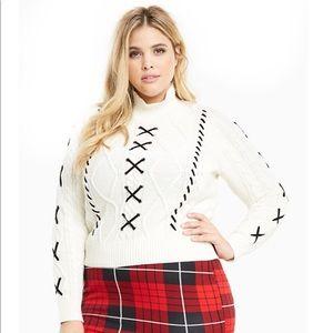 Torrid Lace Up Mock Neck Sweater